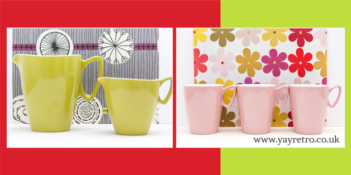 Gaydon Melamine Jugs and Mugs from the 60s/70s  at yay retro!