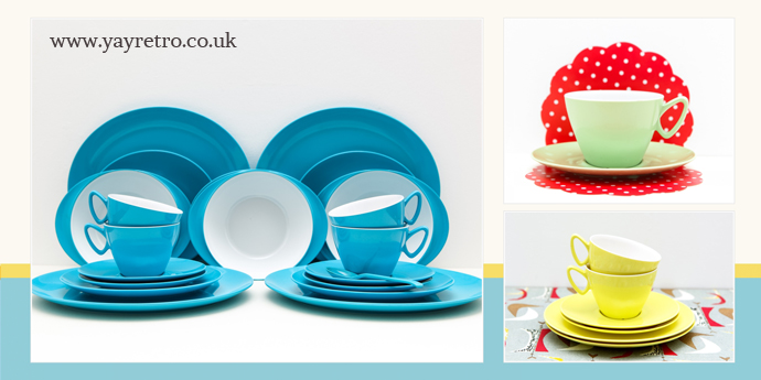 entire gaydon melmex melamine teaset and dinner service from yay retro! camper van heaven!