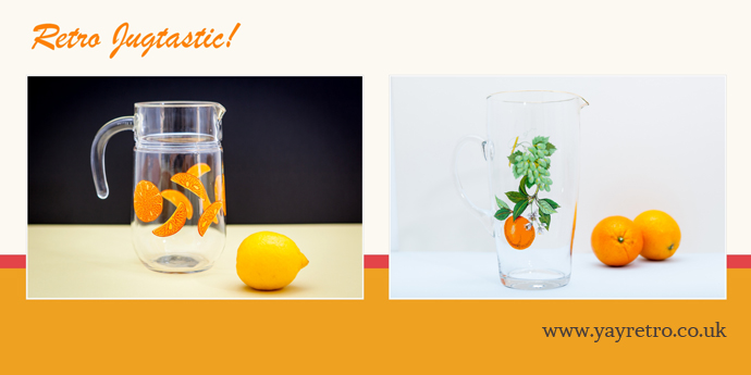 Vintage Glassware from yay retro! including funky orange jugs