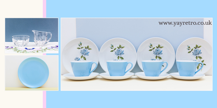 50s pastel blue teaset, vintage glassware, poole pottery tea plates from yay retro! online china shop