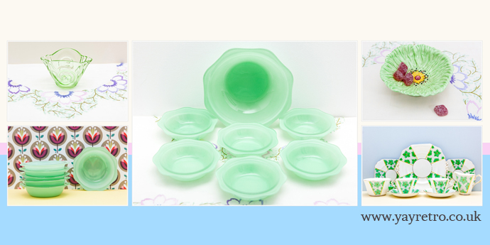 Vintage green Pyrex and glassware from yay retro! replacement china, china search, collectable vintage kitchen and homeware