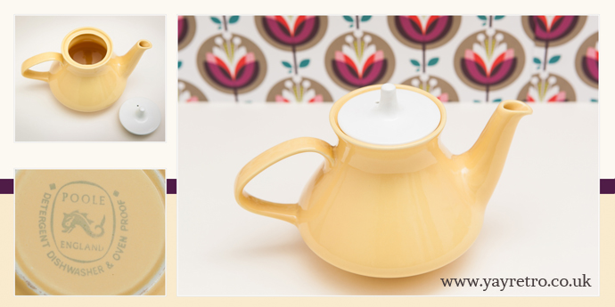 Contour teapot Poole Pottery 1960s from yay retro! in honeydew yellow rare
