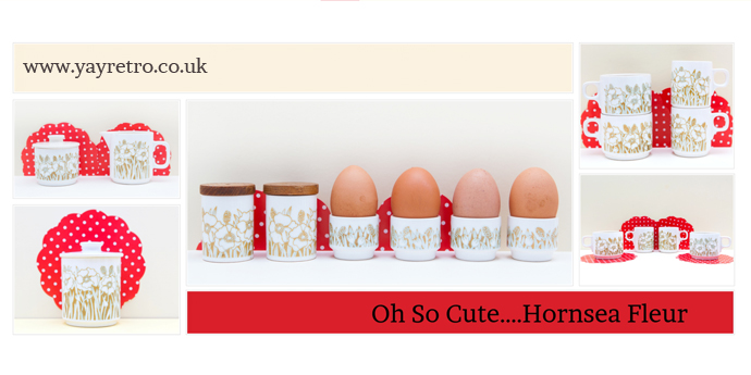 Hornsea Fleur from yay retro! online china shop, sugar bowl, jug, cups, cruet, salt & pepper, egg cups