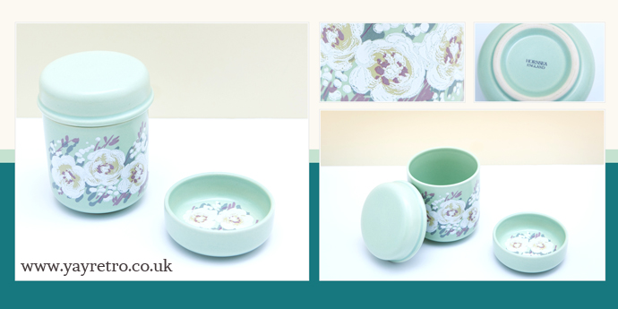 Hornsea Blossom China Pot and pin dish in pale green from yay retro! retro replacement china and vintage collectibles