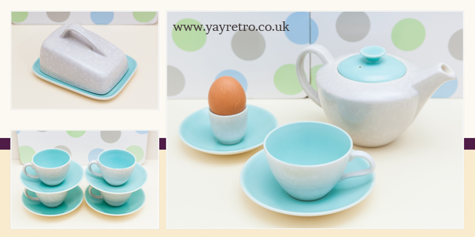 ice green Poole Pottery from yay retro! including coffee cups, cheese dish and serving dishes