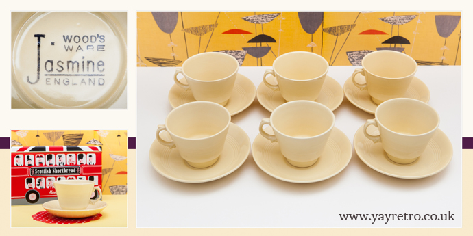 Jasmine Woods ware utility china cups and saucers from 1940s at yay retro! online vintage china shop