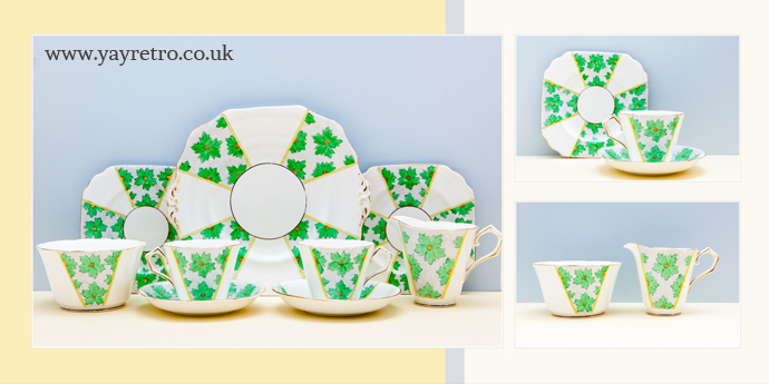 Jazzy green and orange art deco fine bone china tea set from yay retro! online china replacement and collectible shop