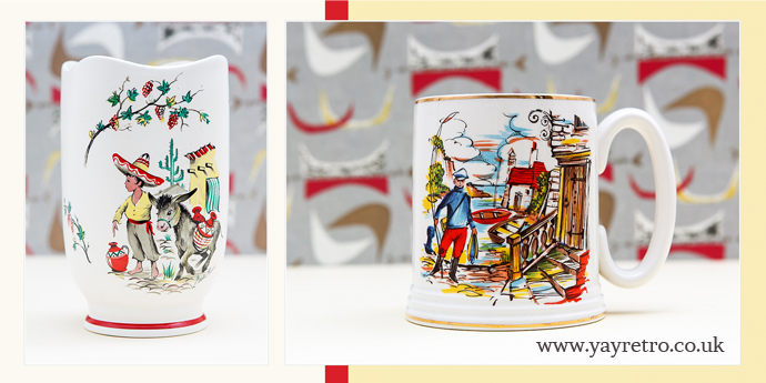 Kitsch china from 1950s at yay retro! vintage china shop from Crown Ducal and Lord Nelson Pottery.