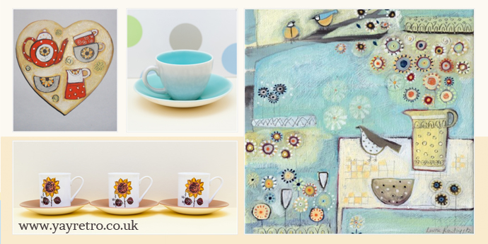 Louise Rawlings Paintings on yay retro! vintage china shop website