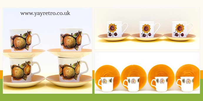 matching Autumn vintage cups from meakin and lord nelson potteries from yay retro! online vintage china shop for tea sets