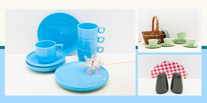 vintage melamine and plastic picnic sets from yay retro!