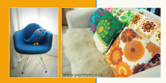 Modflowers homeware designer using 1960s and 70s fabrics, links up with yay retro! online vintage china shop