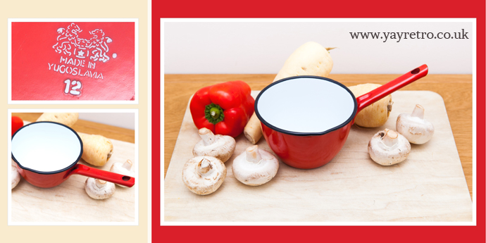 red enamel vintage saucepan from yay retro! online china and kitchenalia shop