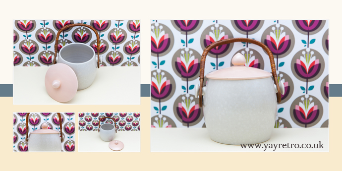 Pink and Seagull Poole Pottery Twintone Biscuit Barrel at yay retro!