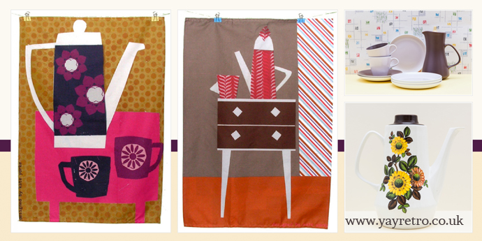 Emily Pickle Designs tea towels on yay retro! vintage china shop blog