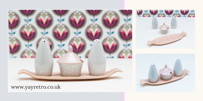 Poole Pottery vintage Pink Cruet set from yay retro!