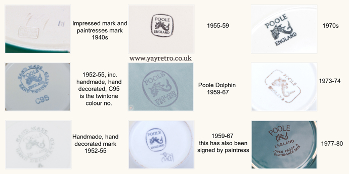poole pottery marks from 1940s to 1970s on yay retro online vintage china and replacement shop