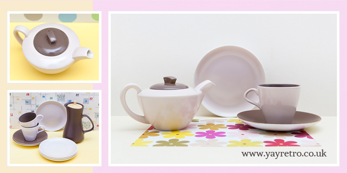 Poole teaset for one in sepia and mushroom from yay retro! £16.50