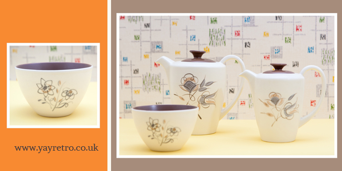 Poole Trudiana Coffee and Hot Water jug, teapot and sugar bowl from yay retro! online retro china shop