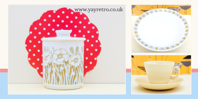 pretty vintage china, including hornsea, biltons,  woodsware and  poole pottery from yay retro! online vintage china shop