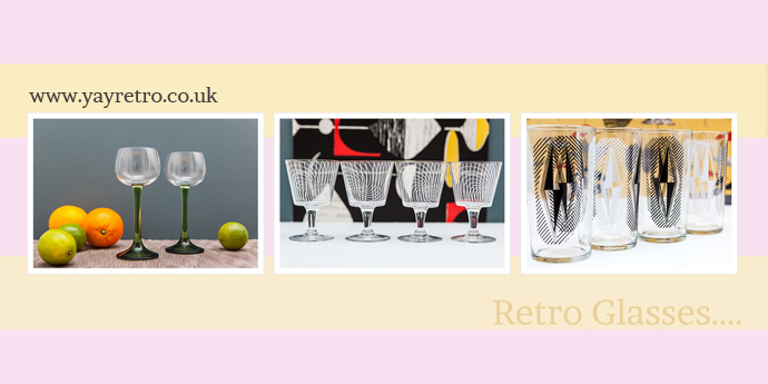 vintage and retro glasses from yay retro! online kitchenalia and vintage china shop