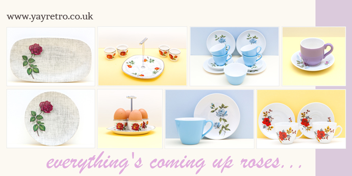 vintage 50s rose china tea, plate and eggcup sets from yay retro! online china and replacement china shop