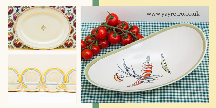 Wide range of retro serving dishes and plates from yay retro! online vintage china shop - Crown Devon, Mintons, Poole