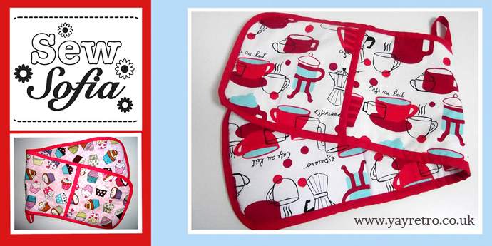 Sew Sofia makes aprons placemats and oven gloves using lovely fabrics...as seen on yay retro!