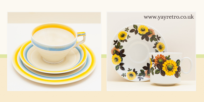Vintage china with stripes and flowers on yay retro! vintage china shop website