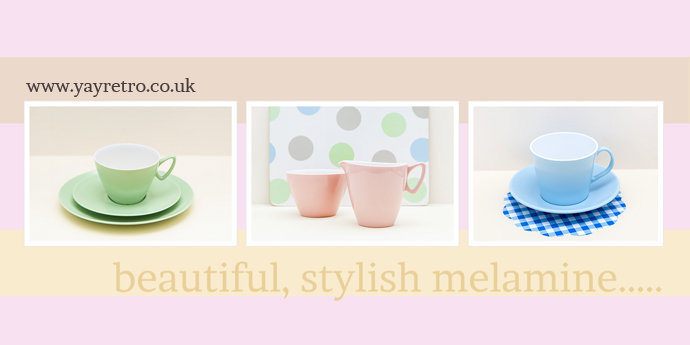Stylish Melamine for Kitchens and Campervans from yay retro! online china and kitchenalia shop