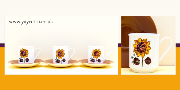 Johnson Bros Vintage 70s cups and saucers with sunflower decoration from yay retro!
