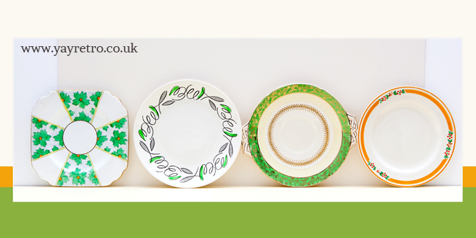Mix and Match Art Deco tea plates from yay retro! online vintage china shop