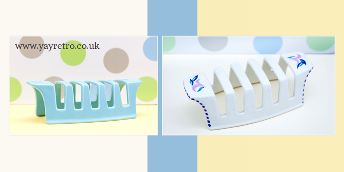 Early Poole Pottery toast rack in white with handpainted flowers from yay retro!