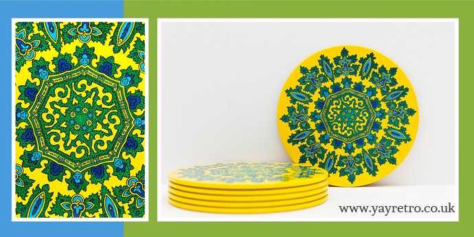 1960s cork backed psychedelic tablemats for sale now at yay retro!