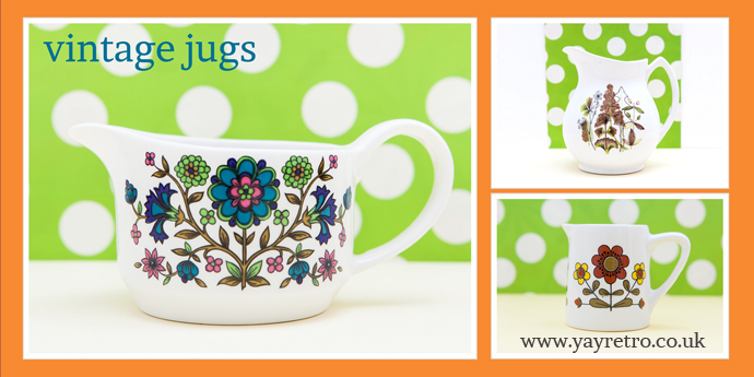 Vintage and retro jugs for sale at yay retro! online china shop