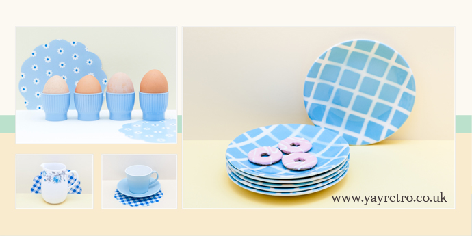 pretty pastel blue vintage egg cups, jugs, melaware and tams plates at yay retro!