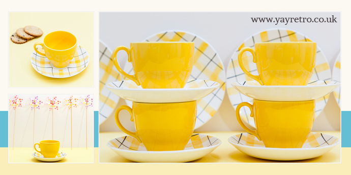 yay retro! have a Harlequinade yellow vintage tea set for sale in their shop