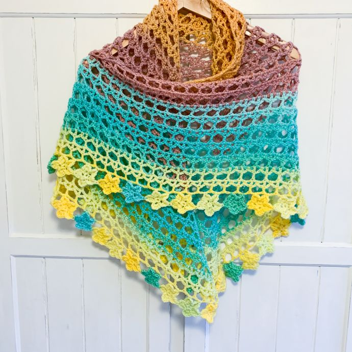 Stunning Flower Power Crochet Shawl For Sale Buy Yay Retro
