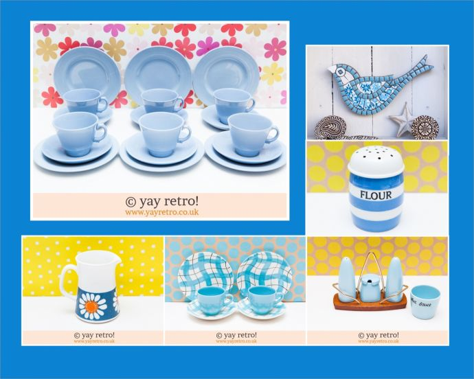 Blue Vintage Kitchenware, Cups And Saucers