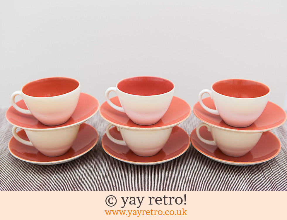 Poole Pottery: Twintone Indian Red Tea Set (£)