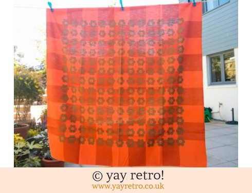 0: Orange Flowery 60/70s Linen Tablecloth (£12.50)