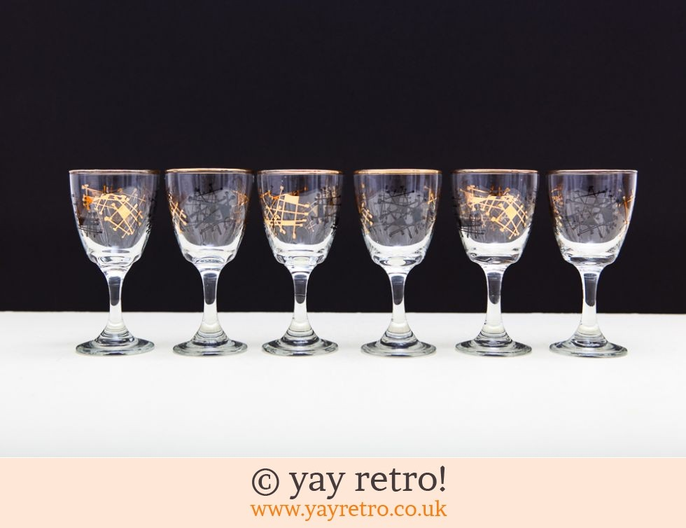 1950s Black Gold Sherry Glasses Buy Yay Retro Handmade Crochet Online Arts Amp Crafts Shop