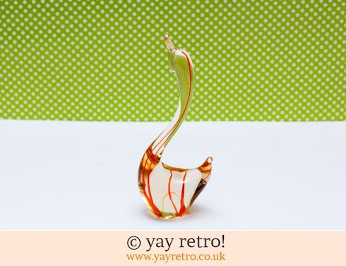 0: Orange Swirl Glass Bird 1960s (£14.00)