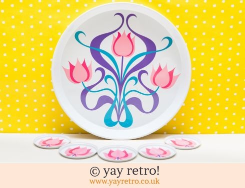 277: Stunning 1960s Pink Tulip Tray & Coasters (£28.00)