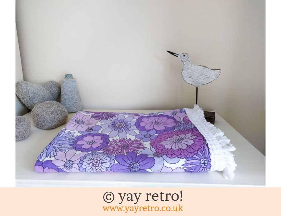 vintage m s purple flower bed throw buy yay retro. Black Bedroom Furniture Sets. Home Design Ideas