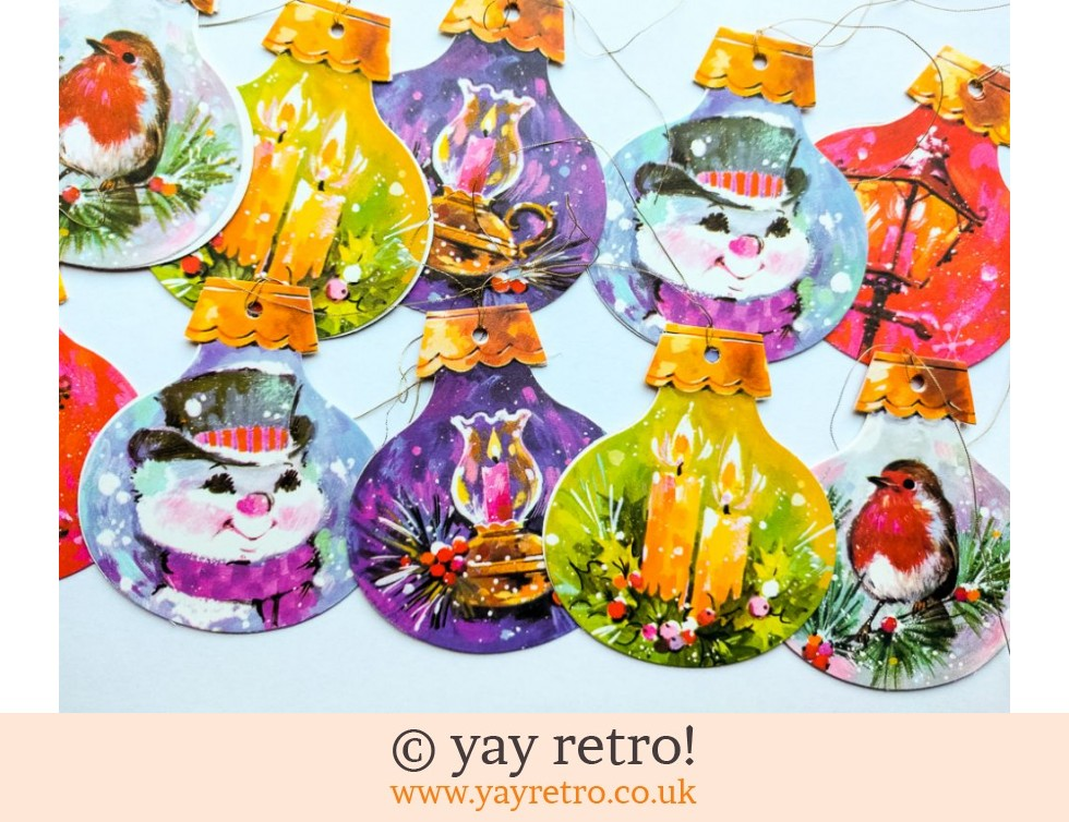 10 Vintage Kitsch Bauble Gift Tags (£4.00)