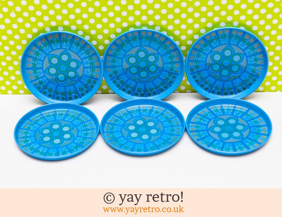 Worcester Ware: Turquoise Worcesterware 60s Coasters x 6 (£16.50)