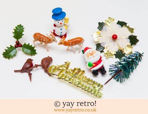 0: Vintage Kitsch Christmas Cake Decorations x 10 Woodland (£7.50)