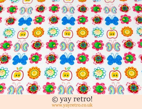 0: Large Piece Flannelette Sheet Retro Apples! (£12.95)
