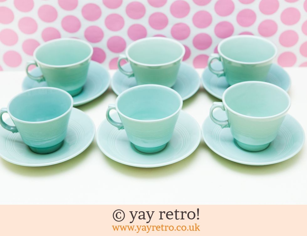 Woods Ware: Beryl Cups and Saucers x 6 (£25.60)
